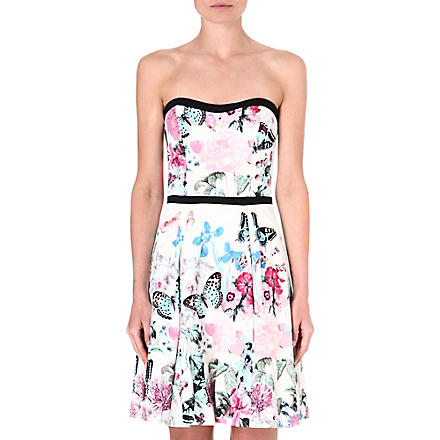 WAREHOUSE Butterfly print bandeau dress (Multi