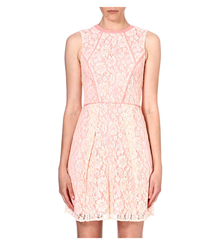 WAREHOUSE Structured lace dress (Peach