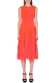 WAREHOUSE Pleated lace hem midi-dress