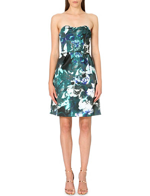 WAREHOUSE Floral-print strapless satin dress