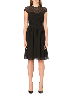 WAREHOUSE High neck lace dress