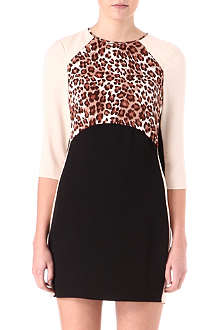 WAREHOUSE Panelled leopard-print dress