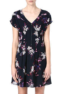 WAREHOUSE Bird-print zip-front dress