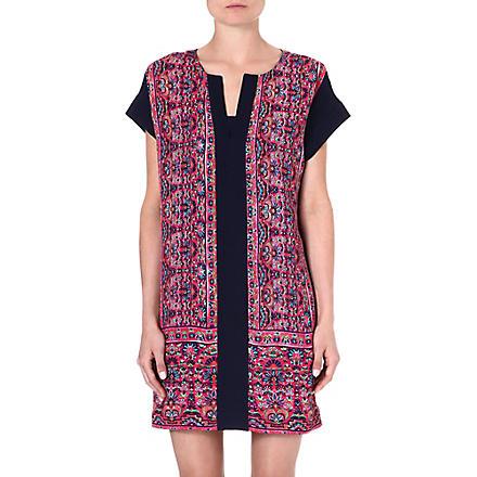 WAREHOUSE Border print shift dress (Multi