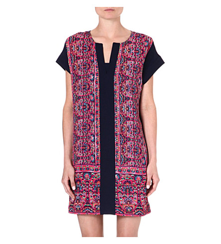 WAREHOUSE Border print shift dress (Multi