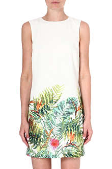 WAREHOUSE Tropical palm print shift dress