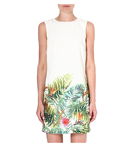 WAREHOUSE Tropical palm print shift dress (Multi