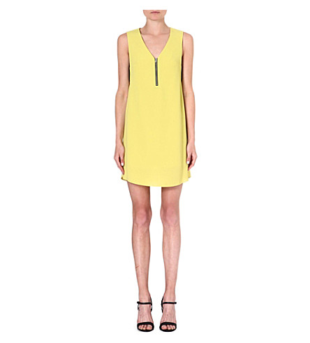 WAREHOUSE Lace underlayer zip dress (Lime