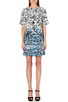 WAREHOUSE Border texture print shift dress