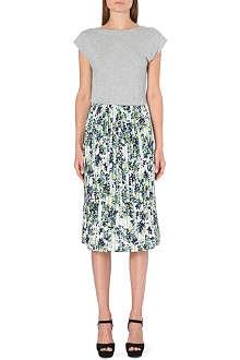WAREHOUSE Leafy floral print midi dress