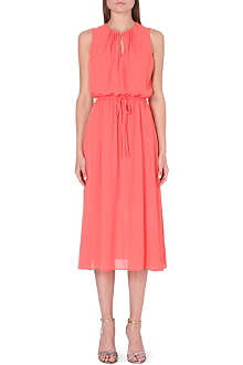 WAREHOUSE Pin-tuck neck midi-dress