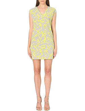 WAREHOUSE Texture Print v-neck shift dress