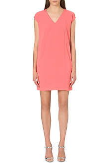 WAREHOUSE V-neck stretch-crepe shift dress