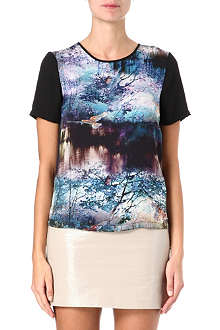 WAREHOUSE Landscape-print top