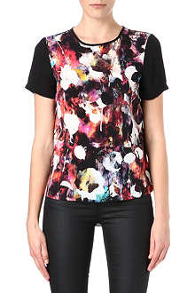 WAREHOUSE Blurred floral-print top