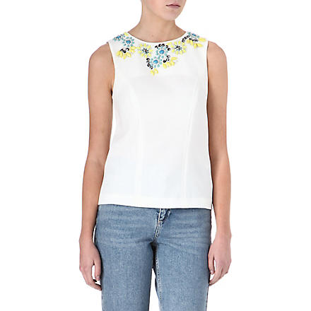 WAREHOUSE Coloured stone embellished top (Cream