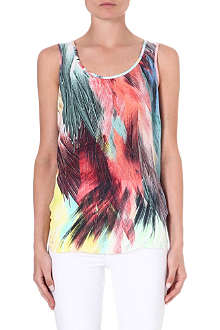 WAREHOUSE Silk feather-print vest