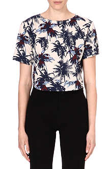 WAREHOUSE Palm print top