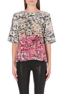 WAREHOUSE Border texture print top