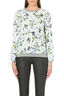 WAREHOUSE Neon floral sweat top
