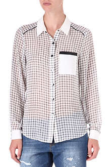 WAREHOUSE Checked contrast-trim shirt
