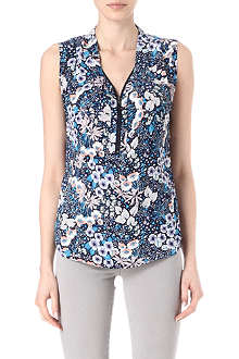 WAREHOUSE Garden floral zip-front top