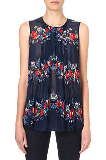 WAREHOUSE Floral pleat blouse