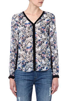 WAREHOUSE Butterfly stencil-print blouse