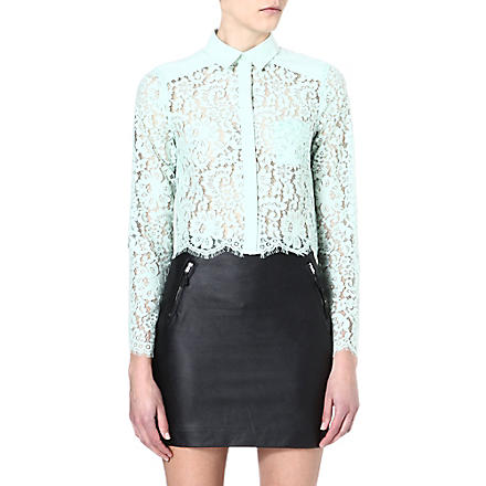 WAREHOUSE Cropped lace shirt (Mint