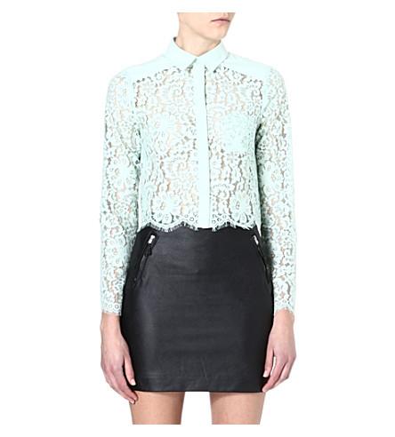 WAREHOUSE Cropped lace shirt (Mint