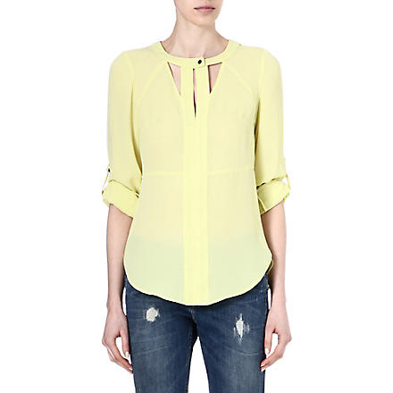 WAREHOUSE Cutout neck blouse (Yellow