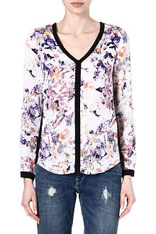 WAREHOUSE Pretty bird floral blouse