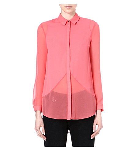 WAREHOUSE Mix panel shirt (Coral