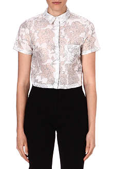 WAREHOUSE Flower organza shirt