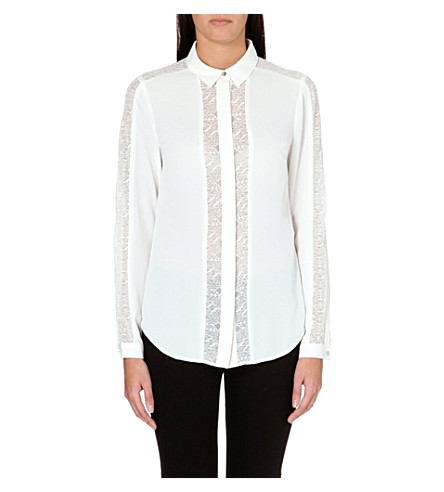 WAREHOUSE Lace insert blouse (Cream
