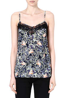 WAREHOUSE Flamingo print lace vest top