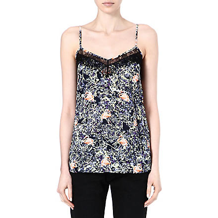 WAREHOUSE Flamingo print lace vest top (Multi
