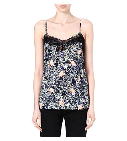 WAREHOUSE Flamingo print lace vest top (Multi