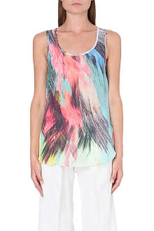 WAREHOUSE Silk feather print vest