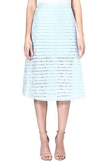 WAREHOUSE Stripe lace A-line skirt