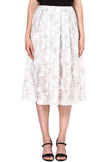 WAREHOUSE Flower-print organza skirt