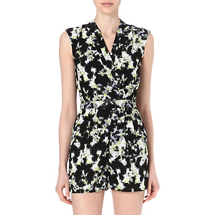 WAREHOUSE Blurred neon print playsuit (Lime