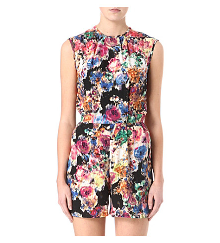 WAREHOUSE Smudgy floral playsuit (Multi