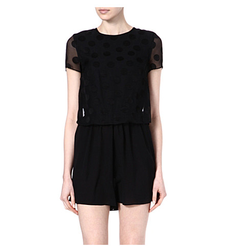 WAREHOUSE Spot top playsuit (Black