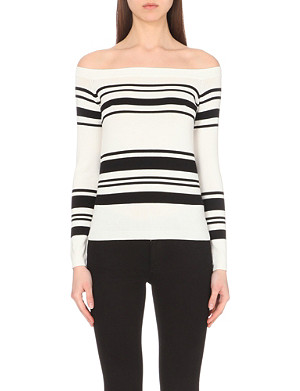 WAREHOUSE Striped bardot knitted top