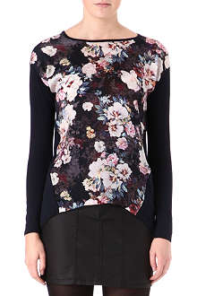 WAREHOUSE Night floral-panel jumper