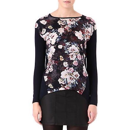 WAREHOUSE Night floral-panel jumper (Navy