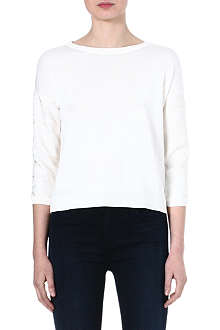 WAREHOUSE Step hem jacquard lace jumper