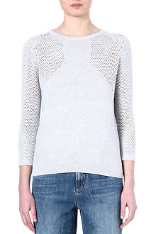 WAREHOUSE Geo pointelle and lace jumper