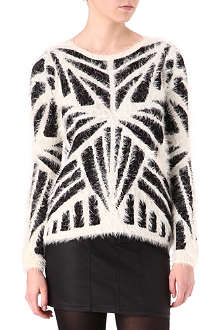 WAREHOUSE Fluffy geometric-print jumper